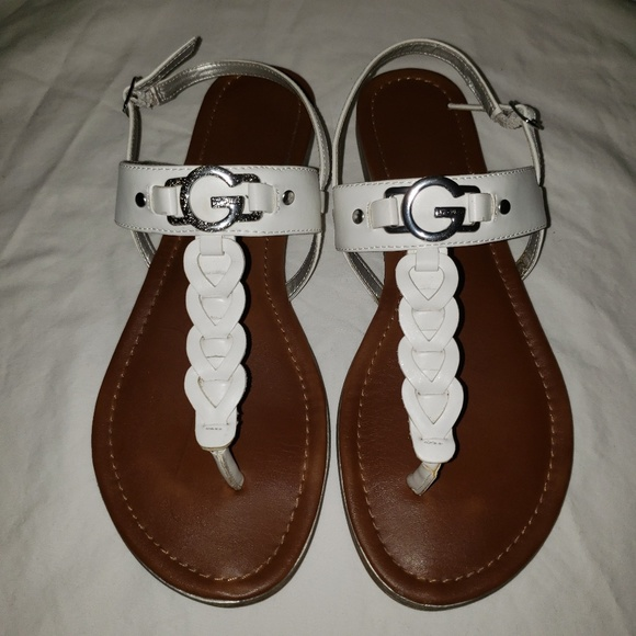 G By Guess White Sandals Size Womens